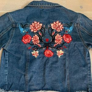 Girls embroidered blue bird denim jacket